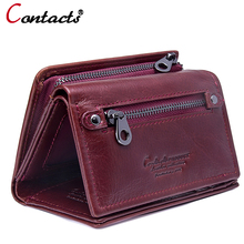 Buy Contact's genuine leather Women wallets Purses female coin purse small money card holder clutch female Design red wallet new for $17.71 in AliExpress store