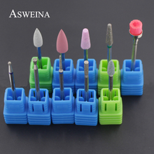 ASWEINA 10Pcs Diamond Nail Drill Set Korund Material Nail Cuticle Clean Milling Manicure Drill Bits Nail Rotary Accessories(China)