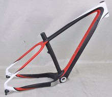 full carbon fatbike frame 26er fat bicycle red/white colors painted snow bike frame dengfubike thru axle fat bike 100mm BSA