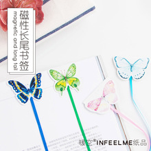 Cute Kawaii Magnetic Bookmarks Lovely Butterfly Book Marker Paper Clip For Kids Korean Stationery Free Shipping 2479(China)