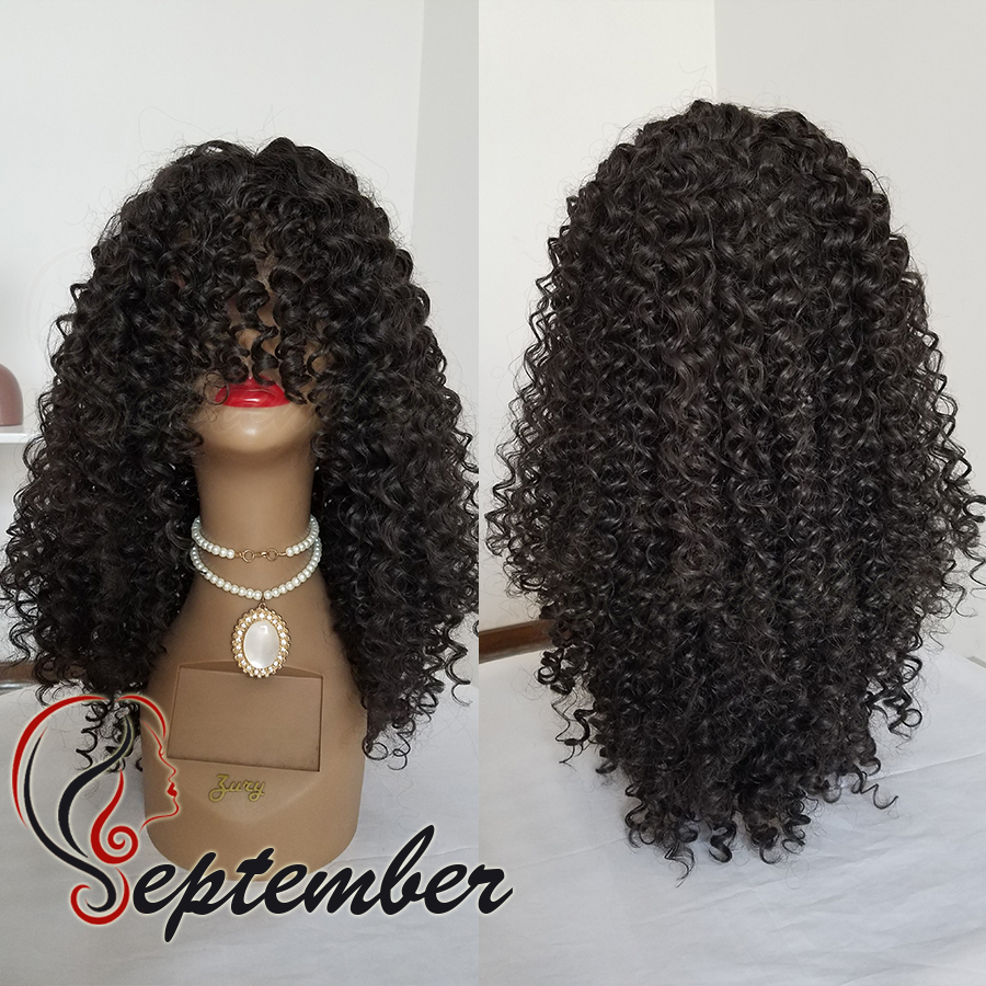 HOT!No lace Synthetic wigs silk top with bangs glueless synthetic lace front wig for black women no lace afro kinky curl wigs<br><br>Aliexpress