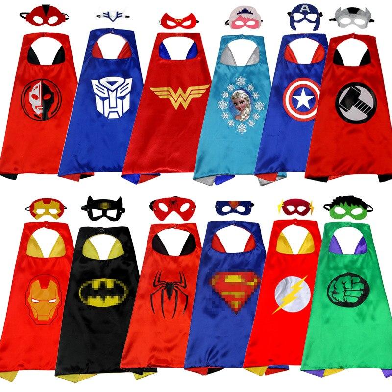 3-10 Years Girl Boy Halloween Cosplay Capes Superhero Spiderman//Superman//Batman