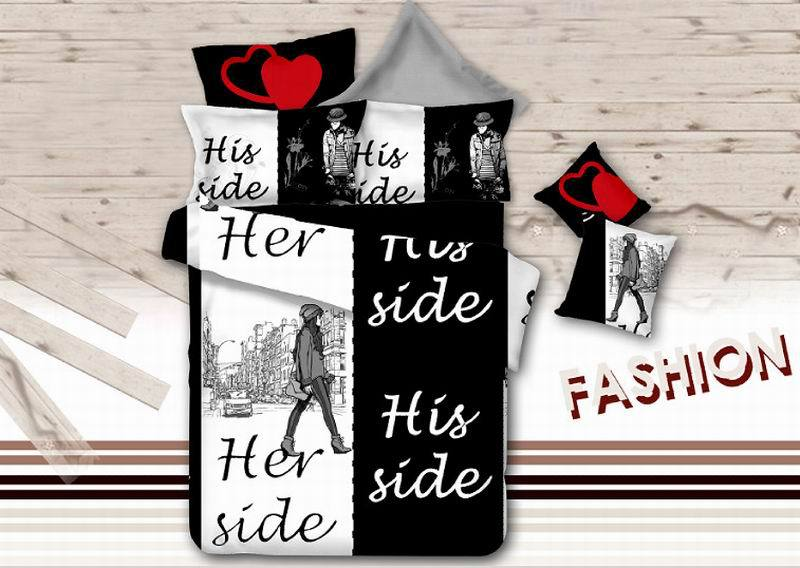 Black White Bedding Sets 4pcs His Side Her Duvet Quilt Cover Cozy Bedclothes