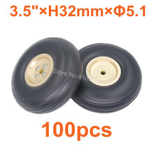 "Buy 100pcs /Lot 3.5""/ 89mm PU Rubber Wheels Alloy Hub Thickness:32mm Axle hole: 5.1mm Landing gear RC Plane Replacement Parts for $375.04 in AliExpress store"