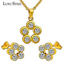 Retail Classical Gold Vacuum Plating Jewelry Set,  Pure White Crystal Stainless Steel Pendant And Earrings With Free Chain
