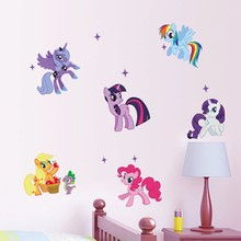 Cute 6 Ponies Wall Stickers for kids removal wall stickers 3D PVC Home Decoration Cute Animal Cartoon Gift