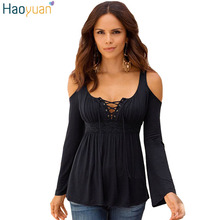 Fall Women Blouses 2017 Sexy Strapless Blusas V Neck Long Sleeve Blouse Off Shoulder Tops Lace Up Casual Shirts Plus Size 5XL(China)