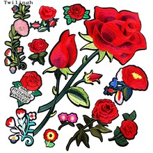 1 Pcs Big 3D Patches Sew-on Flower Patch Embroidery Sequin Motif Red Rose Applique Garment Women DIY Clothes Sticker Wedding(China)
