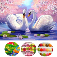Diy 5d diamond painting cross stitch diamond embroidery diamond mosaic pattern swans picture stickers home decor(China)