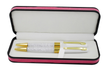2 pieces/Pack Crystal diamond Ballpoint Pens Gold Crystal pen with Gift Box Crystal Pen set for gift items with Free shipping