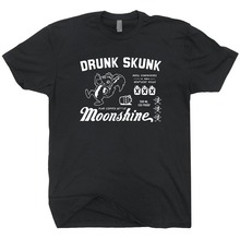 Drunk Skunk Moonshine T Shirt Moonshiners Beer Alcohol Vodka Rum Gin Whisky Scotch Tennessee Tee Hipster O-neck cool tops