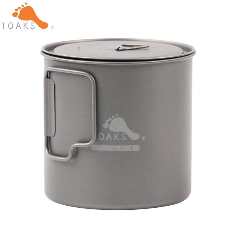 TOAKS POT-650-L Titanium Cup 650ML Outdoor Camping Lightweight Pot Picnic Cookware Set Pot Ultralight Titanium Pot<br>