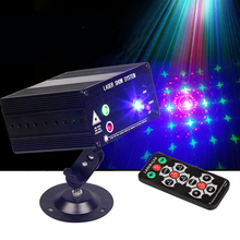 Mini Led Rgb Home Stage Lighting Effect DMX Laser Projector With Remote Lumiere Disco Lights Dj Party Stage Light UK Plug(China)