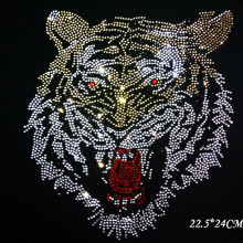 2pc/lot bling tiger iron on transfer patches hot fix rhinestone motif iron on crystal transfers design for shirt dress