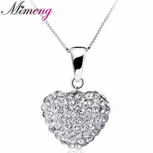 100% 925 sterling silver necklaces & pendants Heart Shamballa r necklace for women top quality!! Christmas Gift FREE SHIPPING(China)
