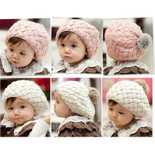 Warm Winter Hats For Girls Boys  Baby Infant Toddler Beanie Faux Rabbit Pompon Kids Hand Crochet Knit Cap Fotografie Photo Props