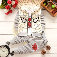 Baby Boys Spring Autumn Spiderman Sports suit 3 pieces set Tracksuits Kids Clothing sets Casual clothes Coat Pant t shirt(China)