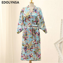 New Arrivals Silk Robes Print Kimono Robe Vintage Bathrobe Soft Sleepwear Robe Peignoir Wedding Robes Bridesmaid #H126(China)