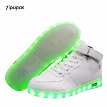 7ipupas High-quality Low price Luminous Sneakers Kids Boys Girls USB Charger Led Light Shoes Unisex High Top Sports for children(China)