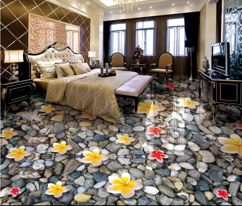 custom 3d floor tiles wallpaper Magnolia wallpapers for living room 3d flooring waterproof wallpaper vinyl flooring adhesives<br>