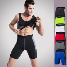GXQIL Men Running Sport Compression Shorts Quick Dry Patchwork Male Basketball Football Training Shorts Men Gym Crossfit Shorts(China)