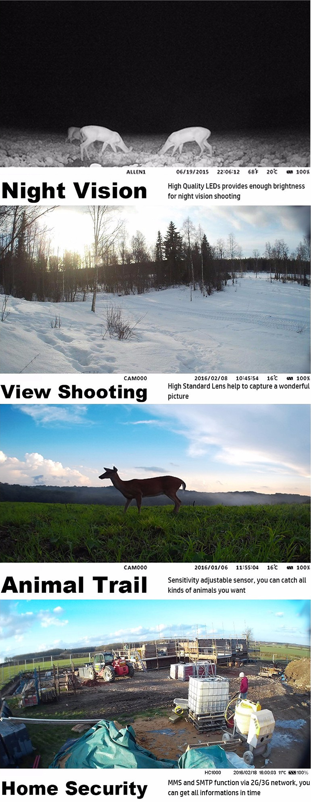 HC 300M Deer Cameras 12MP GSM MMS GPRS SMS Control Hunting Camera HC300M with 36 units Infrared LEDS Motion Detection HC-300M (14)