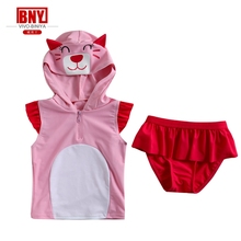 girl hoody one piece set swimwear cute animal style wetsuit bench cloth lace skirt Rash Guard sun Protection UPF50+90-130cm pink(China)