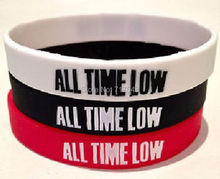 300pcs a lot All Time Low Silicone Wristbands Bracelets bangle Wristbands free shipping fedex(China)