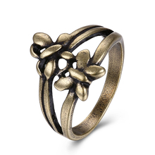 JEXXI Women Girls Flower Ring Bronze Color 2 Row Fashion Hollow Ring for Women Best Gift Engagement Party Jewelry Decoration