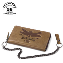 teemzone Dragonfly Series Men 100% Genuine Leather Zipper Wallet Brand High Capacity Card Holder Long  Purse Coin Purse Q807-09