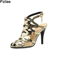 Plus Size 32-44 New Arrival Glazed Leather Sandals Sexy Women Shoes Cut-outs Summer Shoes Woman Open toe Night Club Sandals