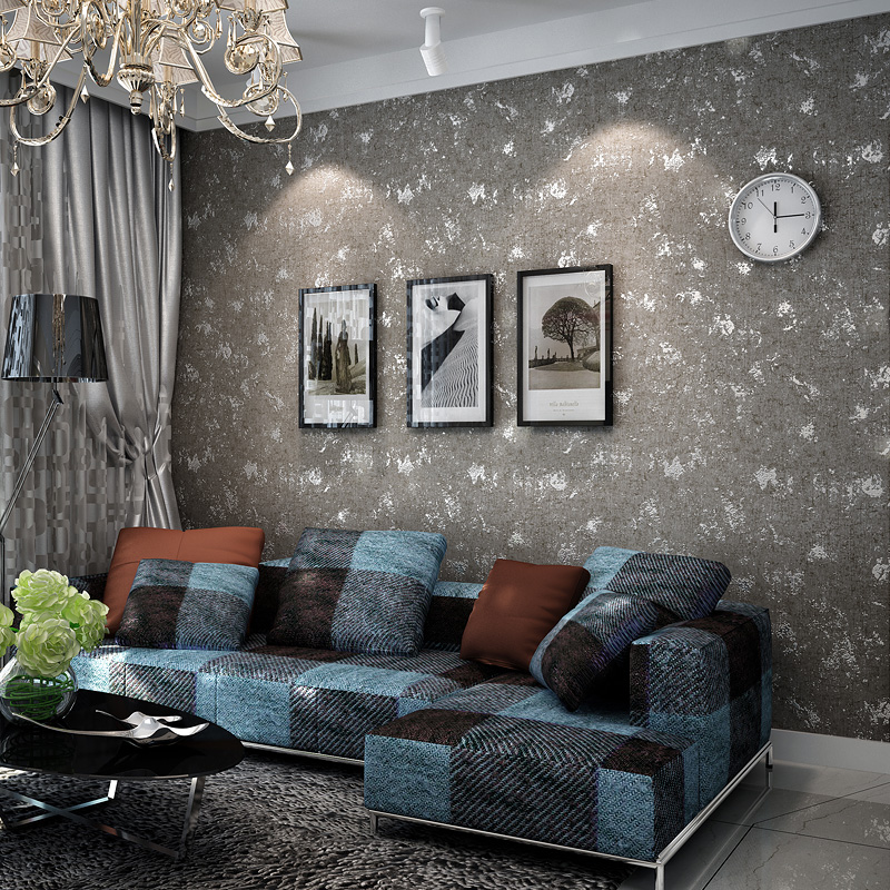 The New Do the old retro mottled gray solid gray concrete industrial wind nonwoven wallpaper plain clothing store bar wallpaper<br><br>Aliexpress
