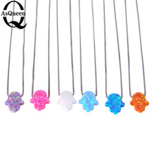 4 Colors 11*13mm Fire Hamsa Opal Pendant Hand Shape silver Box Chain Necklace fine jewelry for Women