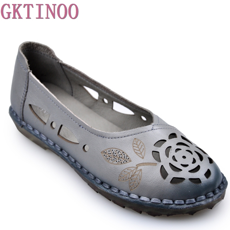Womens Casual Shoes Genuine Leather Woman Loafers Slip-On Female Flats Moccasins Ladies Driving Shoe Cut-Outs Mother Footwear<br>