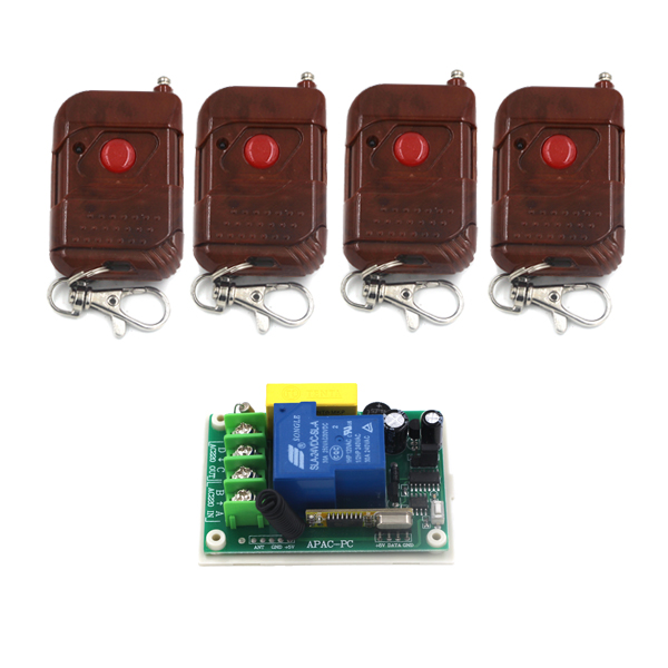 AC 220V 30A 1CH RF Wireless Remote Control Switch Set 1 Receiver 4 Transmitter ON OFF Fixed Code For Light Lamp SKU: 5332<br>