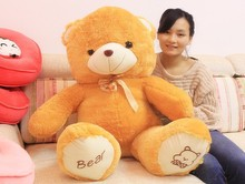 The lovely bow bear doll teddy bear hug bear plush toy doll birthday gift light brown bear about 120cm