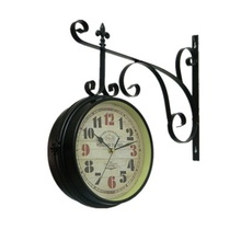 Vintage Saat Metal Double Sided Wrought Iron Wall Clock Digital Watch Relogio de Parede Reloj de Pared Black Duvar Saati Watches