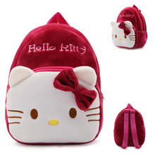 Baby cute school bag Hello Kitty cat cartoon plush backpack toddler children Red wine schoolbag for kindergarten girls kids gift
