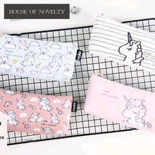 Lovely Unicorn Canvas Pencil Bag Stationery Storage Organizer Bag School Office Supply Escolar Papelaria(China)