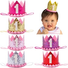 Prince Princess Crown 1st Birthday Party Hat Baby Girls Boys Number 1 Party Hats Glitter Birthday Headband Headdress Decoration(China)