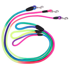 Rainbow Color Weave Nylon Belt Pet Dog Traction Rope Round Training Leashes