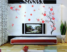 Wall Stickers Red Plum Blossom Flower Removable Viny Wall Decal Sticker Art DIY Home Decor