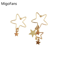 Japanese Style Cute Big and Small Hollow Stars Simple Design Asymmetric Drop Earrings for Girls Gold-color Lovely Drop Earrings(China)