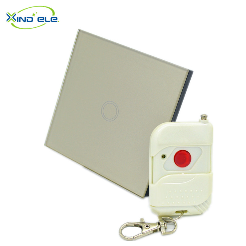 XIND ELE Crystal Glass panel smart smart home light wall touch switch with remote control #XDTH01G+WR1#<br><br>Aliexpress