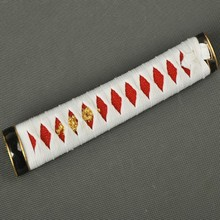 Fully Handmade Delicate Sword Handle Tsuka for Japanese Samurai Wakizashi White Silk Ito & Imitated Red Rayskin Nice Fitting ZJ4