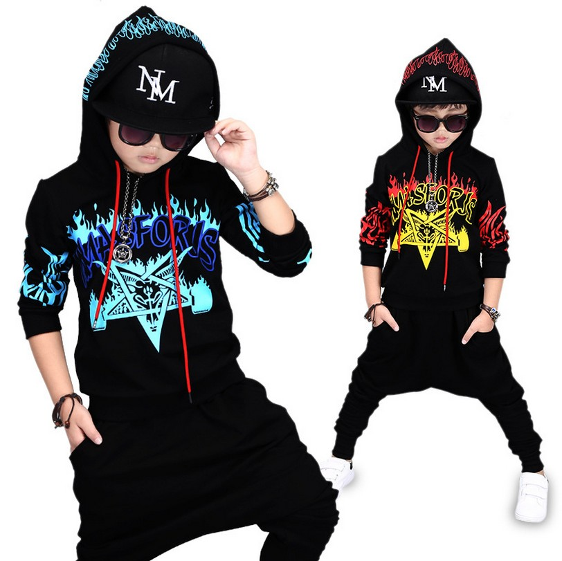 2017 Autumn New Boys Hip-Hop Clothing Set Childrens Printing Sportwear Kids Hooded Sweater + Pants 2 Pcs Suit Tracksuit3-14Y6<br>