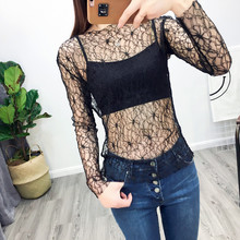 New 2017 Fashion Spring Summer Women Blouse Vintage Sexy Black Mesh Shirts Transparent Lace O-Neck Long Sleeve Bottoming Shirt
