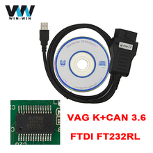 Newest VAG K+CAN COMMANDER 3.6 With FTDI FT232RL Chip VAG 3.6 OBD Diagnostic Cable For Odometer Correction Free Shipping(China)