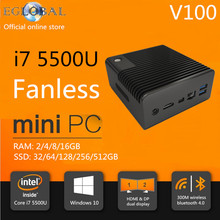 Fanless Nuc PC Core i7 5500u Barebone System Intel HD 5500 GPU One Gigabit Lan HD MI DP Mini HTPC Linux Windows 10 Nettop PC