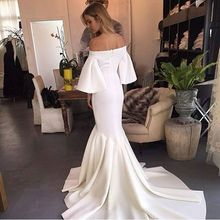2016 Luxury Evening Dresses Chic White Mermaid Off the Shoulder Poet Sleeve Ruch Floor Length Formal Gown Custom Made